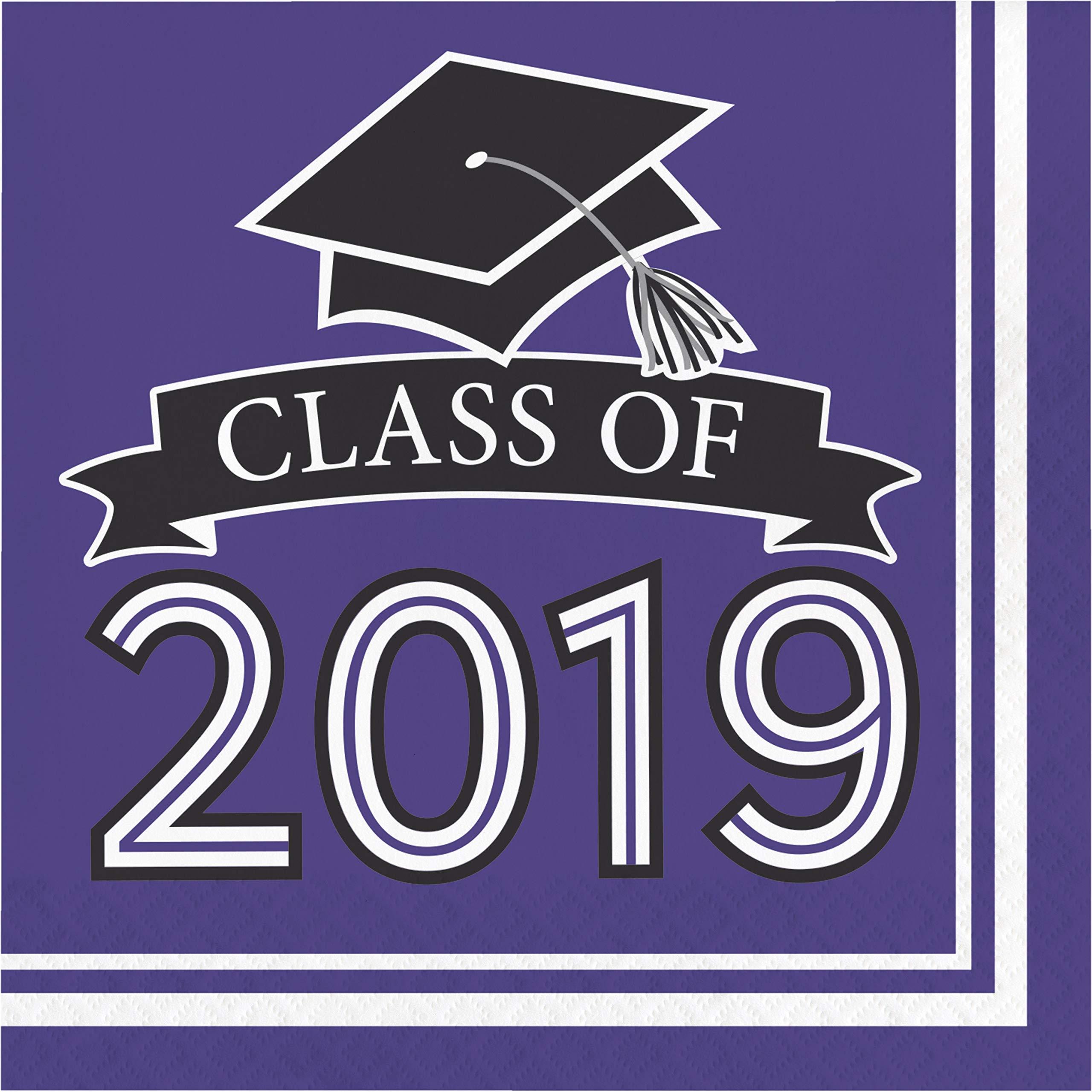 Creative Converting 335418case Purple Class Of 2019 Napkins 6.5'',