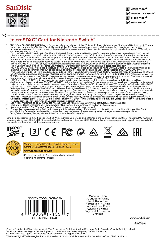 SanDisk 64GB MicroSDXC UHS-I Card for Nintendo Switch & BlueProton USB 3.0 MicroSDXC Card Reader