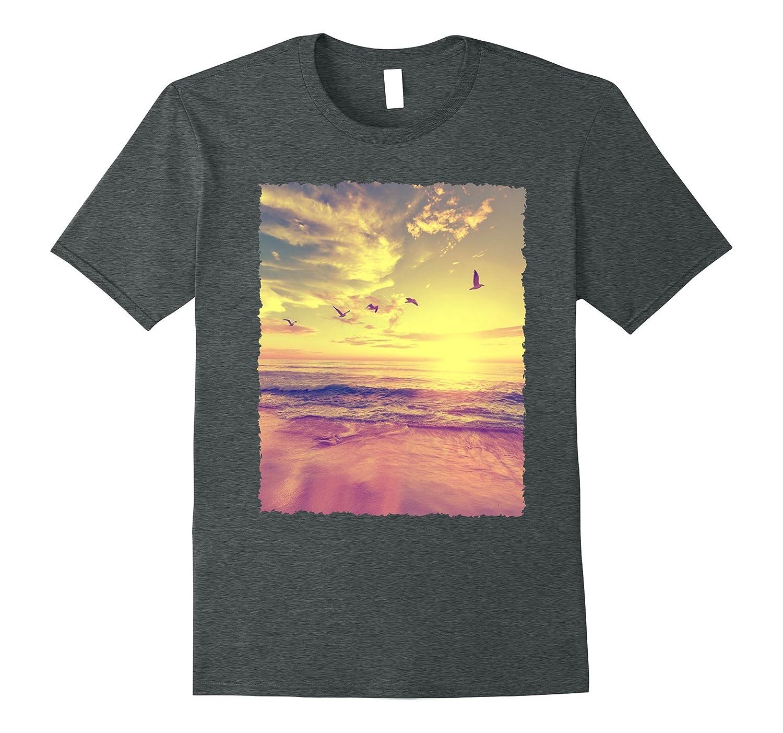 Funny Beach Tee Mens  Ladies Summer Sunset Graphic T-Shirt-Vaci