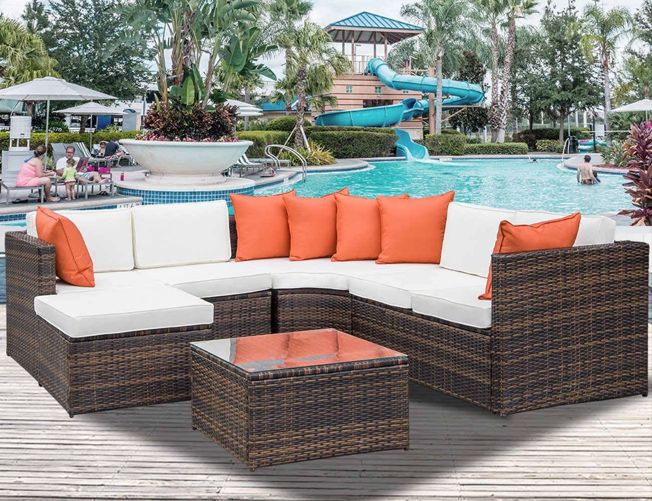 Leisure Zone 5-Piece Patio Furniture Set Outdoor Sectional Conversation Set with Soft Cushions (Cushion Beige