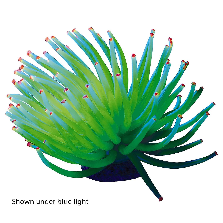 GloFish Yellow Anemone Ornament Creates A Glowing Effect Detailed Aquarium Ornament