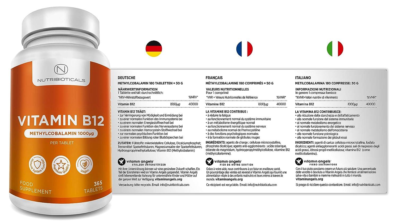 Vitamina B12 Metilcobalamina 1000mcg 365 Tabletas (Suministro para 12 Meses) | Reducción del cansancio y la fatiga y normalización de la función del ...