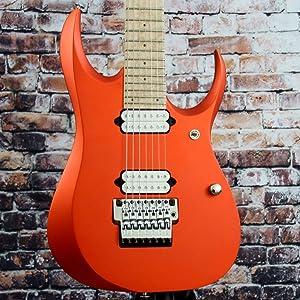 Ibanez RGD Prestige RGD3127 7-String Electric Guitar, 24 Frets, Maple/Wenge Neck, Birdseye Maple Fretboard, Roadster Orange Metallic Flat