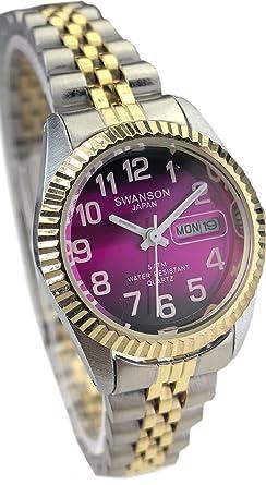 Reloj de Mujer Swanson Japan Watch Dos Tonos,Numeros Grandes,Fecha,Dia Contra