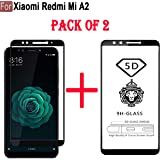 Cedo 5D Edge to Edge 9H Tempered Glass Screen Protector for Xiaomi Redmi Mi A2 (Black, Pack of 2)