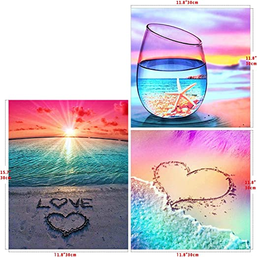 Amazon.com: DIY 3 Pack 5D Diamond Painting Round Full Drill Beach by Number Kit for Adult and kids On Canvas for Beginners Rhinestone Sea Colors Embroidery Cross Stitch Mosaic Paint Diamond Home Wall Decor 12x16i