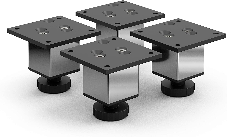 sossai® Exklusiv - Aluminium Patas para muebles | E4MF-H | 4 piezas | Altura regulable: 60mm (+20mm) | Diseño: Cromo | Tornillos incluidos
