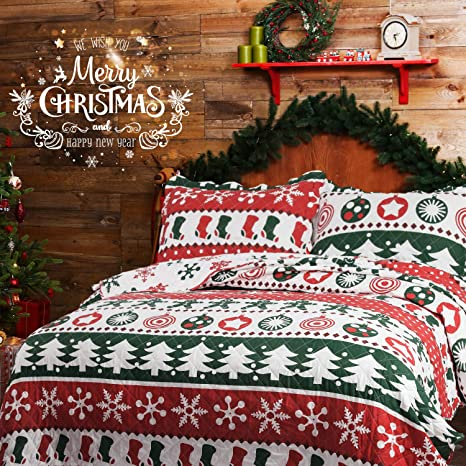 Christmas Bedspreads And Quilts.Bedsure Christmas Bedding Quilts Set Decoration Printed Bedspread King Size 106x96 Patchwork Coverlet Ideas For Kids Red Green And White Home Decor
