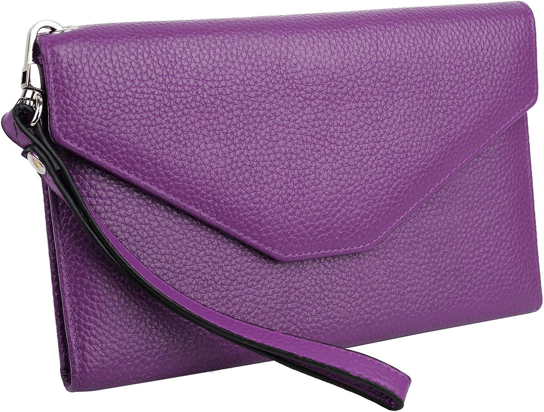 YALUXE Womens RFID Blocking Leather Large Wristlet Clutch Passport Checkbook Wallet