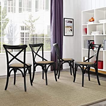 Marvelous Modway Gear Rustic Modern Farmhouse Elm Wood Rattan Four Kitchen And Dining Room Chairs In Black Fully Assembled Ncnpc Chair Design For Home Ncnpcorg