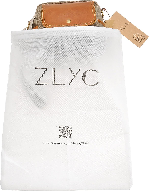 Canvas Camera Case ZLYC Small DSLR Camera Bag Leather Trim Shockproof Padded Shoulder Messenger Bag Gray