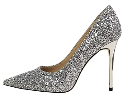 52f5e0de1356 Gome-z Women Pumps High Heels Silver Glitter Wedding Shoes Woman High Heels  Sexy Ladies