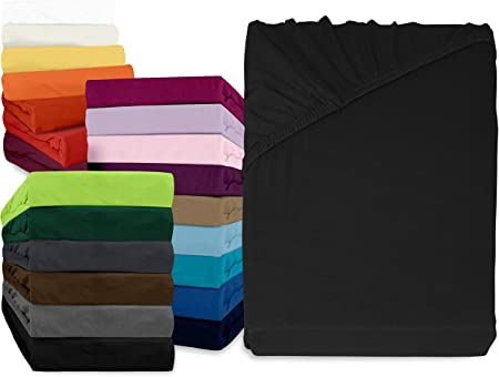 npluseins sábana bajera Fijación – Disponible en 34 modernos colores y 6 tamaños diferentes – 100% algodón, 90 – 100 x 200 cm, color negro: Amazon.es: Hogar