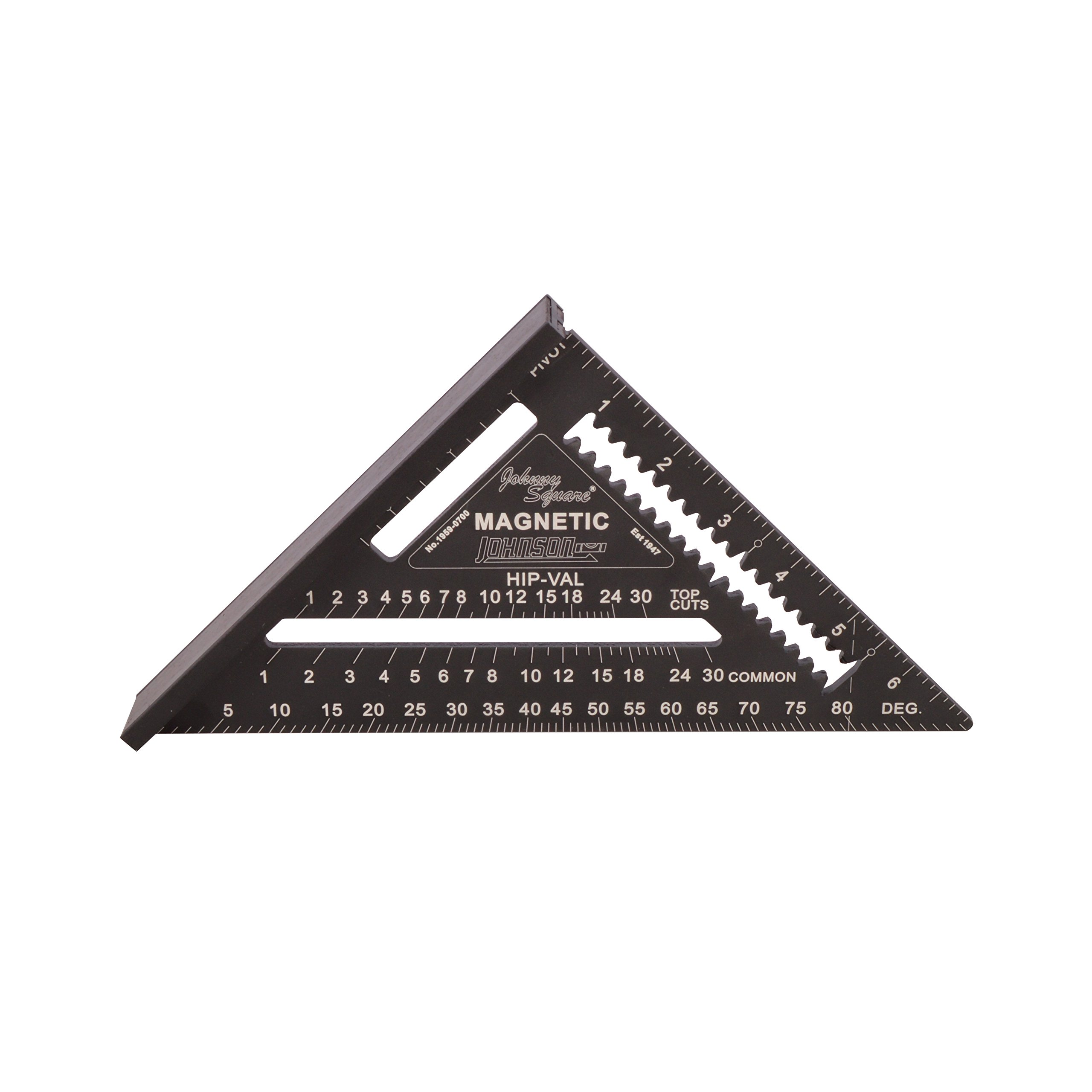Johnson Level & Tool 1959-0700 7-Inch Magnetic Johnny Square, Professional Easy-Read Aluminum Rafter Square w/out Manual