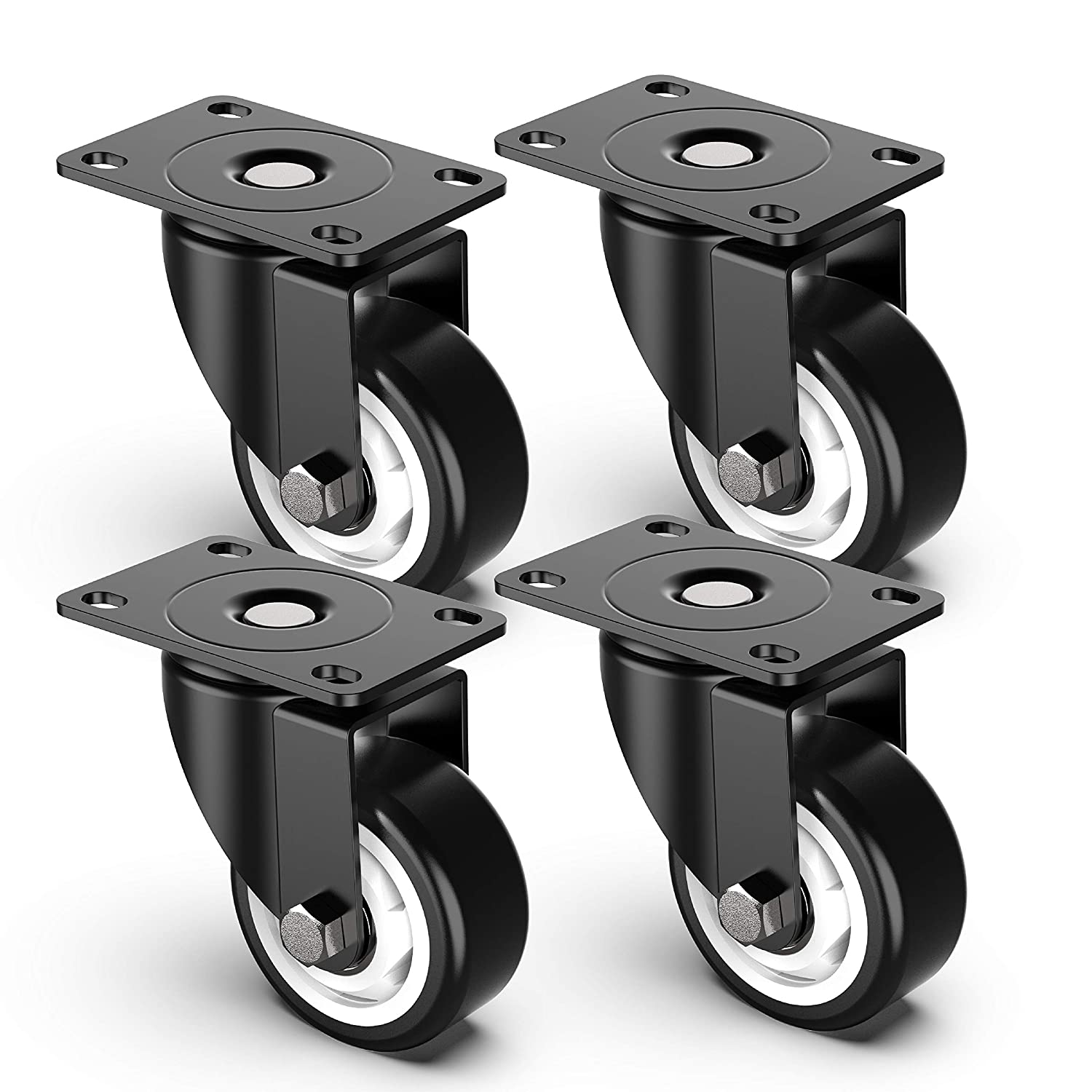 3 inch Swivel Caster Wheels, Heavy Duty Plate Casters with no Brakes Total Capacity 1000lbs (pack of 4)