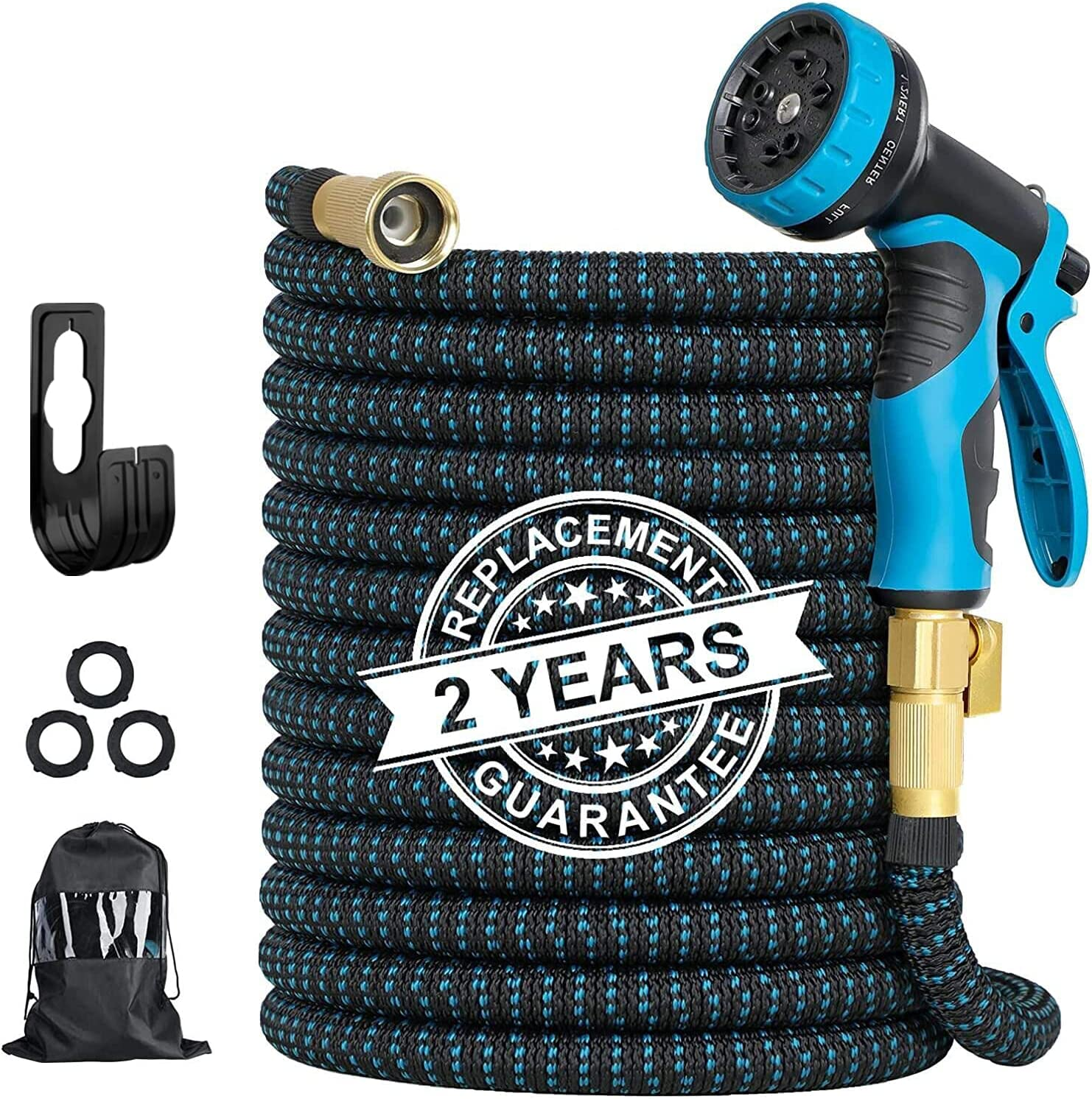 No Kink Garden Hose   50 ft Garden Hose Expandable - 3750D Heavy Duty Flexible Water Hose with 9 Function Nozzle   3/4 Inch Solid Brass Fittings & 4-Layer Latex Core