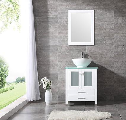 Sliverylake Bathroom Vanity Top Single Ceramic Vessel Sink Cabinet