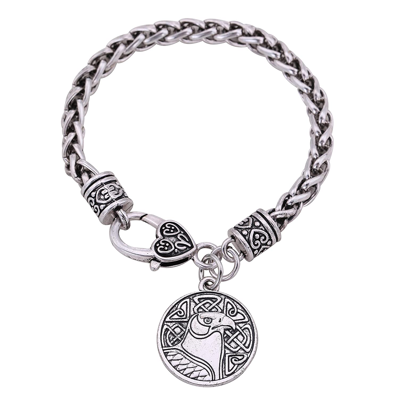 Odins Raven Crow Round Charm Wheat Chain Bracelet Vintage Viking Jewelry