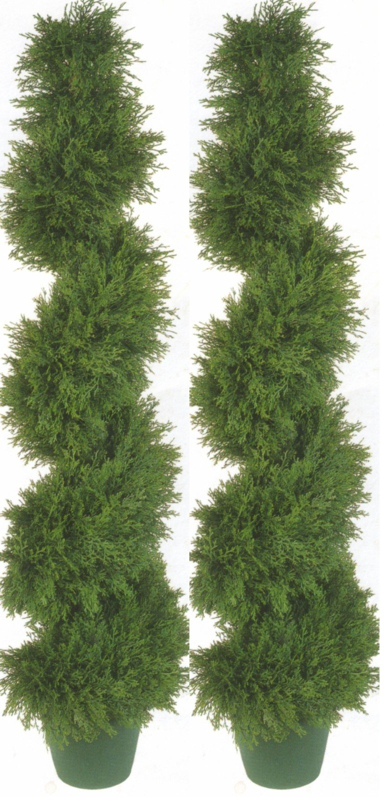 Silk Tree Warehouse Two 4 Foot 3 Inch Artificial Cypress Spiral Topiary Trees Potted Indoor or Outdoor