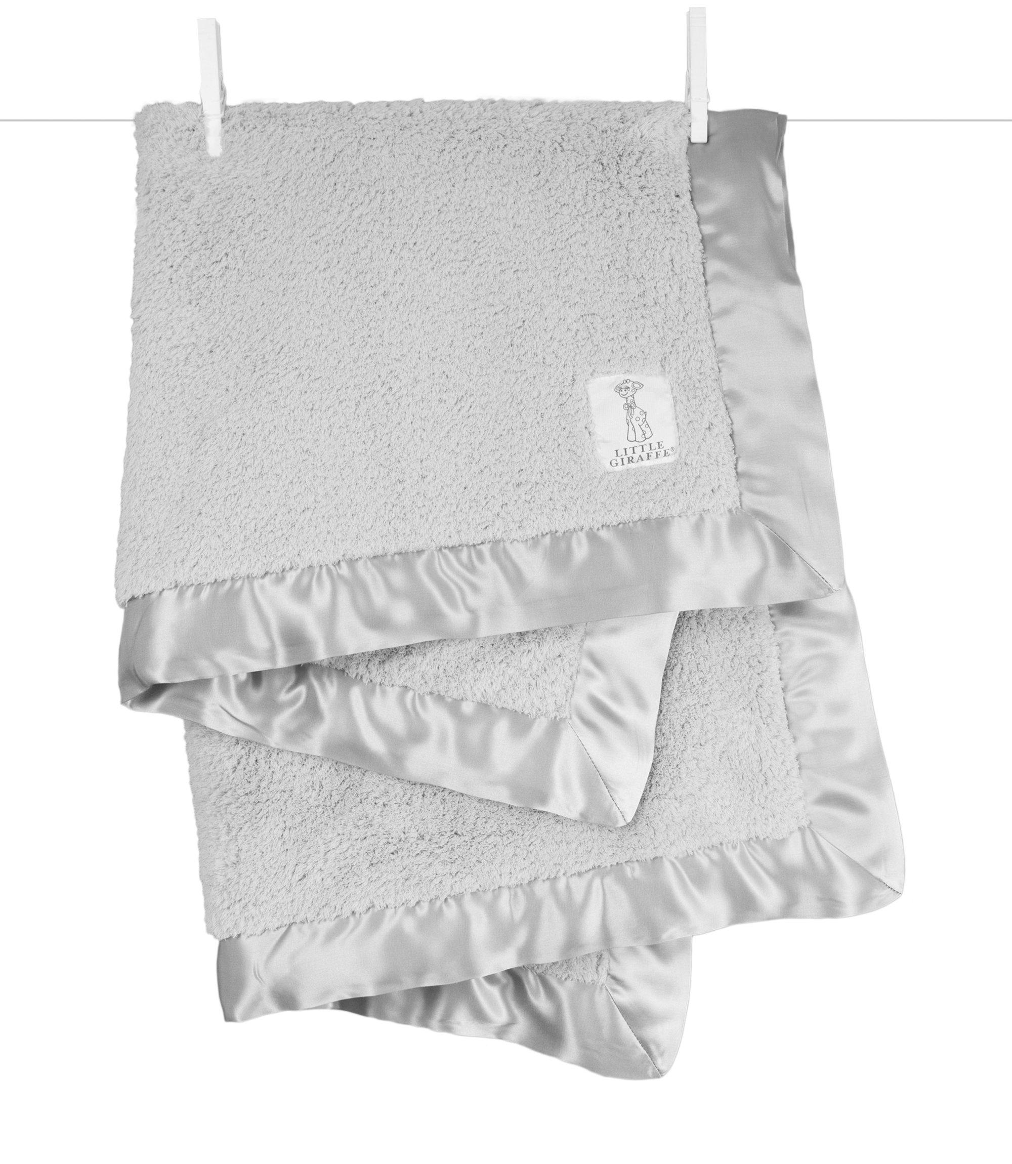 Little Giraffe Chenille Stroller Baby Blanket, silver, 29'' x 35''