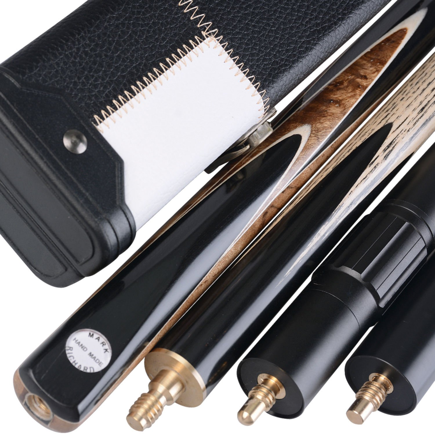Black and White Case and Telescopic Extension Complete Set with Ash Shaft Stylish 57 Handmade 3//4 Piece Snooker Cue