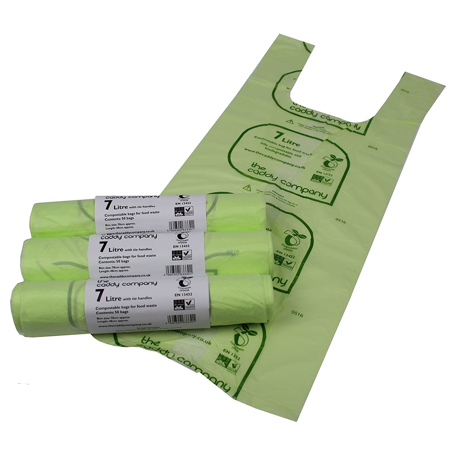 7L x 150 Tie Handle Compostable Kitchen Caddy Liners - Food Waste Bin Liners - EN 13432 - 7 litre Bags All-Green