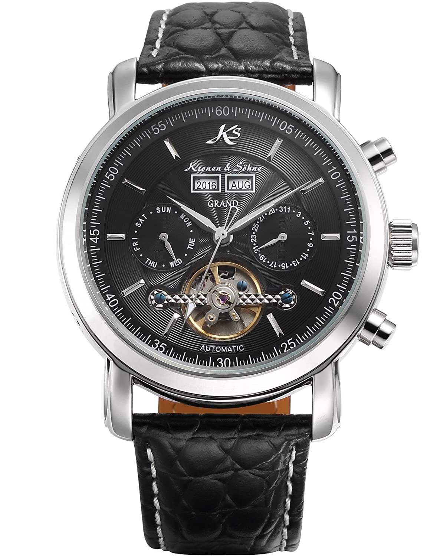 KS Herren Schwarze Mechanische Armbanduhr mit hÖlzerner Geschenbox KS367