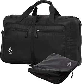 Aerolite Ultra Lightweight Foldable Compact Hand Cabin Luggage Approved 55x35x20 Travel Carry On Holdall Satchell Daypack Flight Sports Kit Bag Black