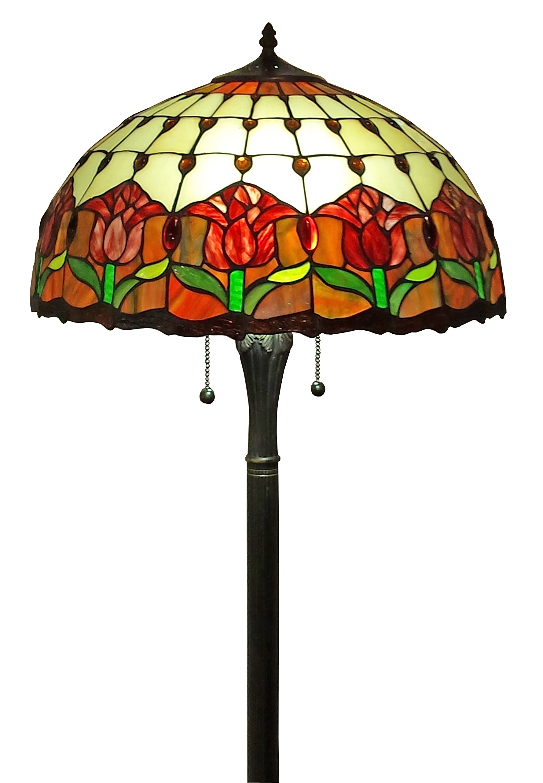 Amora Lighting AM002FL18 Tiffany Style Tulips Floor Lamp 18-Inch Shade, Multi by Amora Lighting