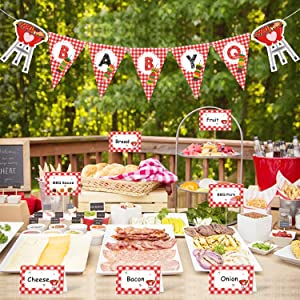 BBQ Baby Shower Party Decorations Kit BabyQ Banner Bar Sign Food Tent Cards Label for Barbecue Gender Reveal Picnic Party Supplies