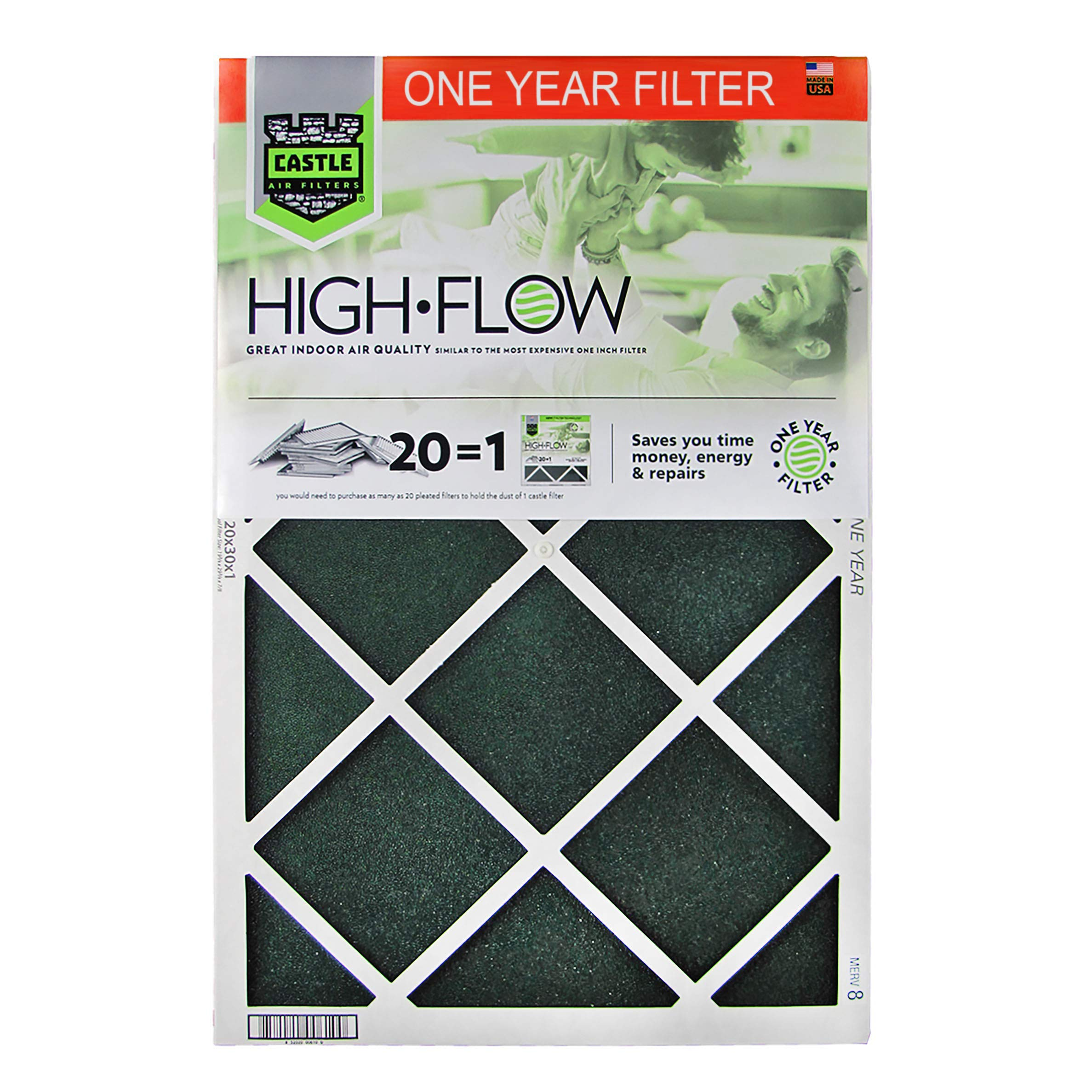 No Toil 000020361 One Year HVAC Castle Air Filters, 20'' x 36'' x 1''