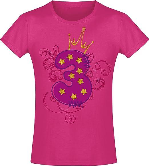 Camiseta de Cumpleaños - 3 Años con Corona y Brillo - Año 2017 - T-Shirt Niños Chica Niña Niñas Girl-s - Rosa Pink Fucsia Pijama - Regalo Princesa Princess - Birthday: Amazon.es: Ropa y accesorios