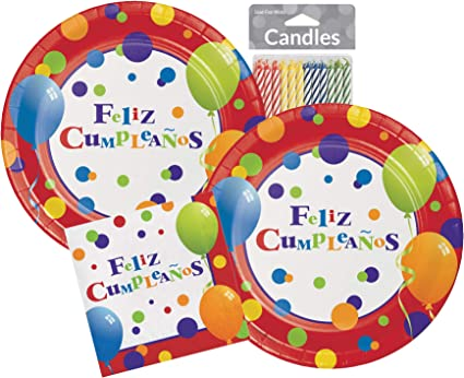 Feliz Cumpleanos Decorations Mexican Theme Party Supplies Spanish Birthday Plates, Napkins & Candles Serves 16 Guests
