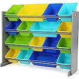 Humble Crew Extra-Large Toy Organizer, 16 Storage Bins, Grey/Blue/Green/Yellow