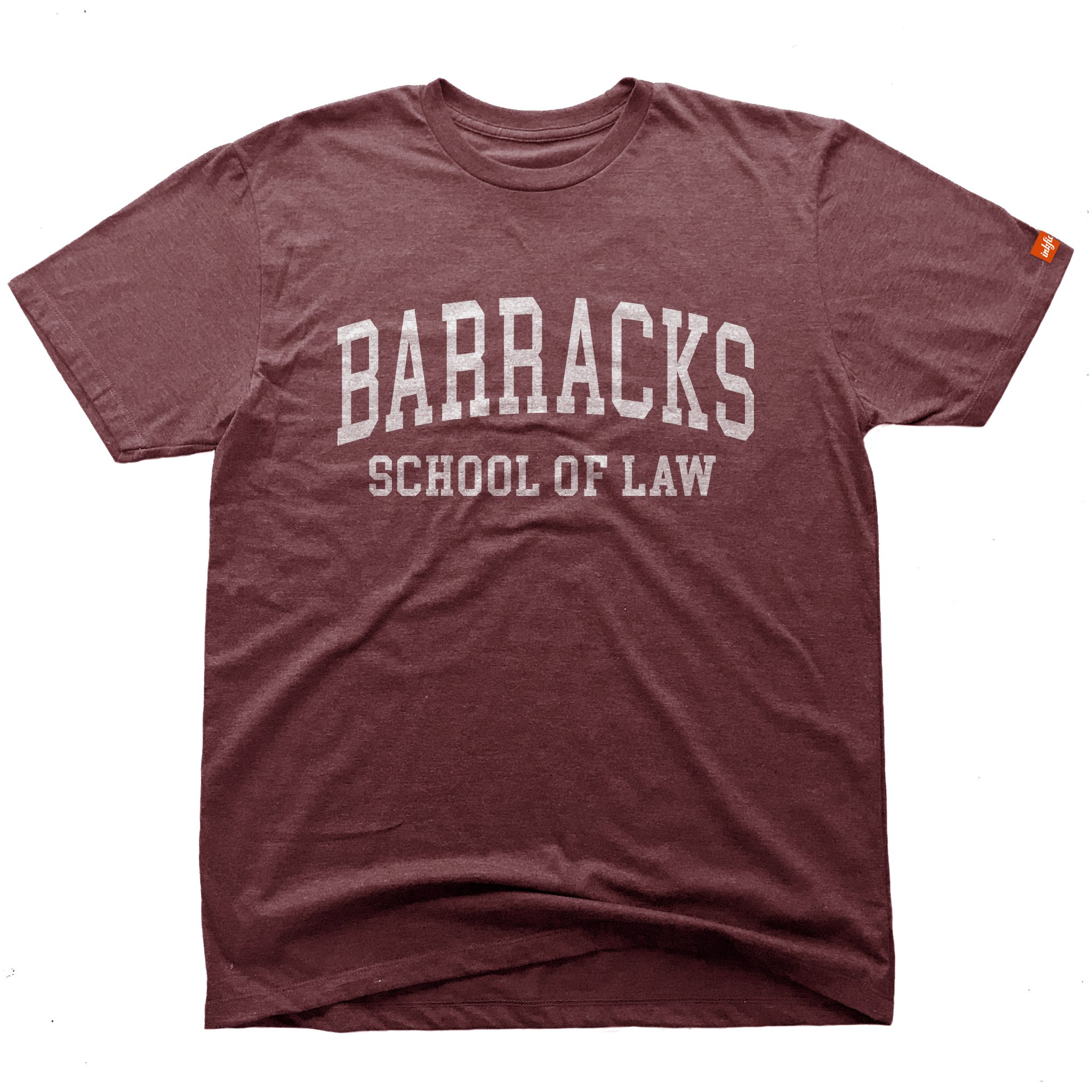 Inkfidel Barracks School of Law Graphic Tshirt Misfire Maroon Army USMC Marine Veteran Apparel (Small) by Inkfidel