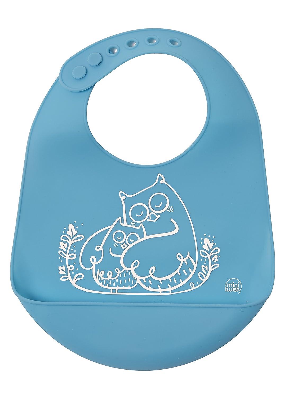 mini-twist Silicone Baby Bucket Bib, Foxes/Green, modern-twist B02