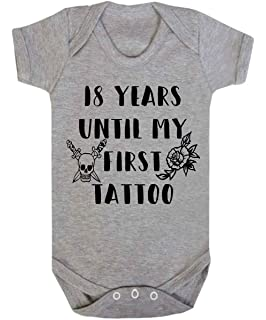 3e2af35f1ea 18 Years Until My First Tattoo Baby Vest Babygrow Bodysuit Onesie Rock Baby  Shower Gifts Novelty
