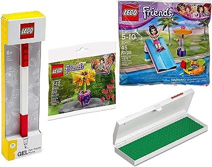 Kit de construcción de Flores de la Amistad con diseño de Flores y Piscina con minifigura Emma + Estuche de lápices con ladrillo Rojo y Base y bolígrafo de Gel de 4