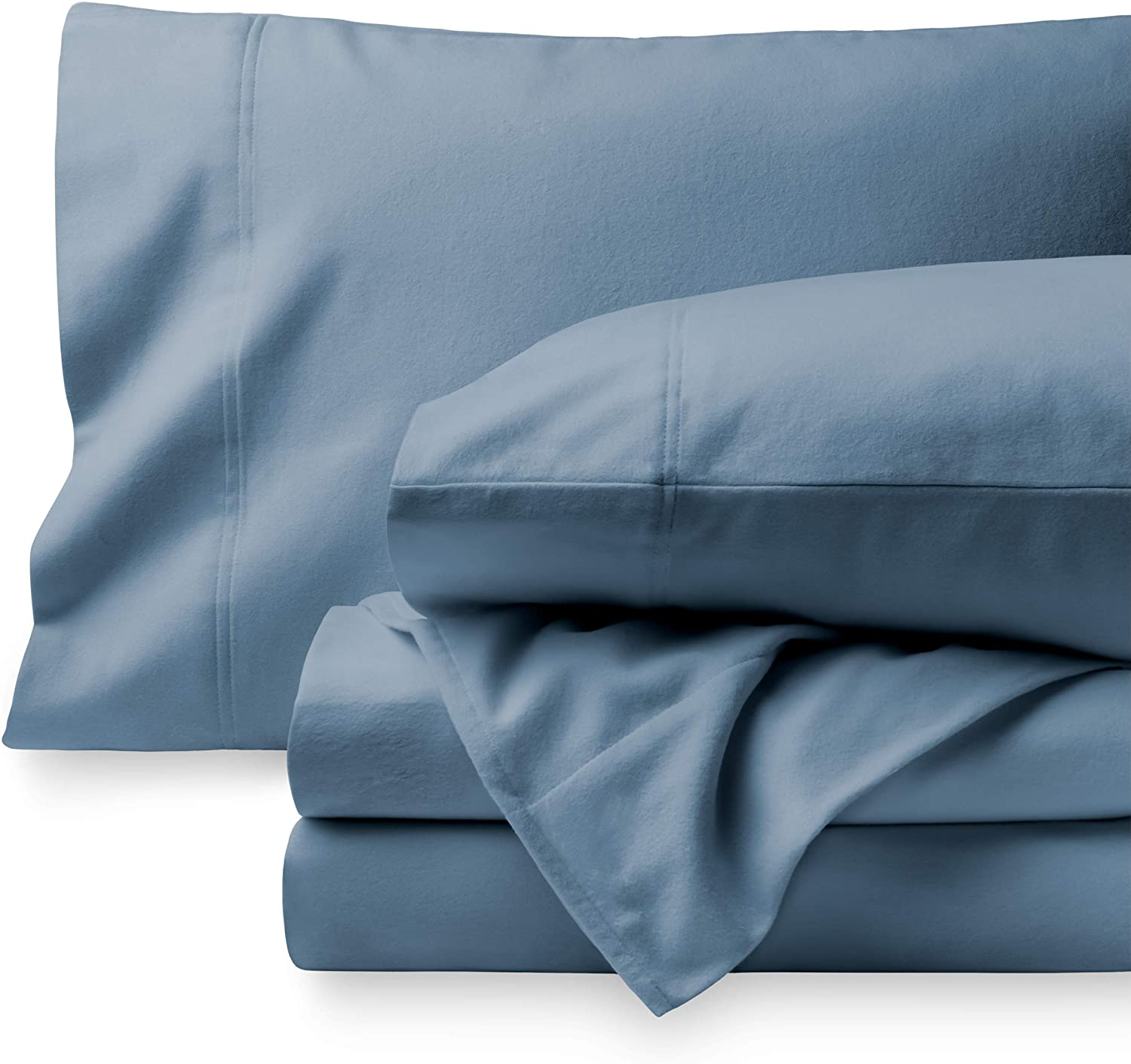 Bare Home Flannel Sheet Set 100% Cotton, Velvety Soft Heavyweight - Double Brushed Flannel - Deep Pocket (Full, Coronet Blue)