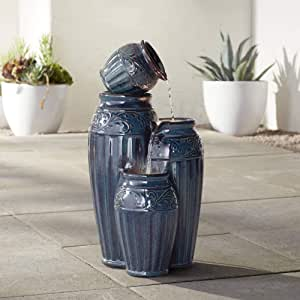 "John Timberland Four Blue Urns 27"" High Ceramic LED Cascading Floor Fountain"
