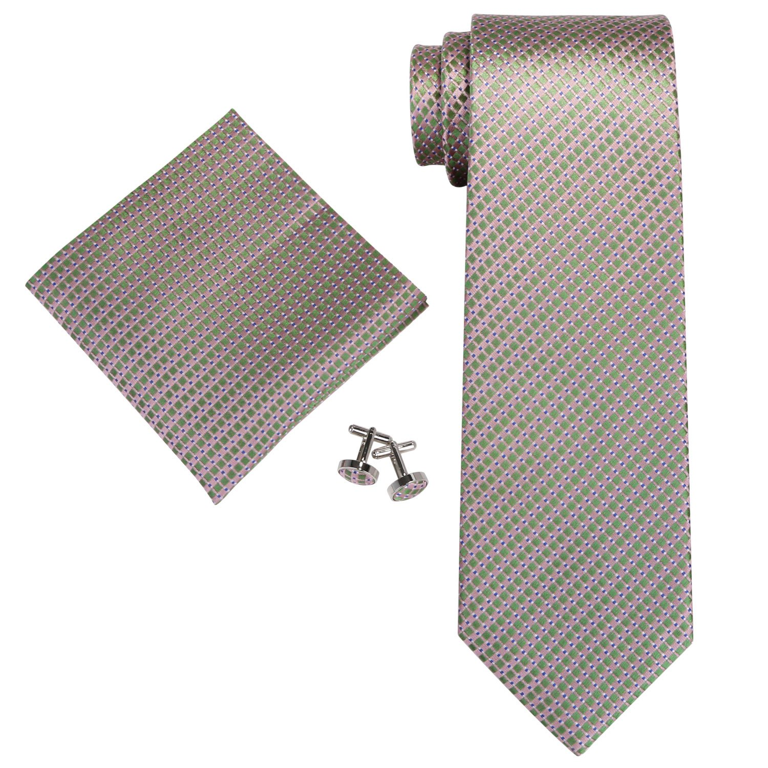 Landisun Stripes Mens Silk Necktie Set: Tie+Hanky+Cufflinks 14N Orange Blue White Gray, 3.75Wx59L 3.75Wx59L