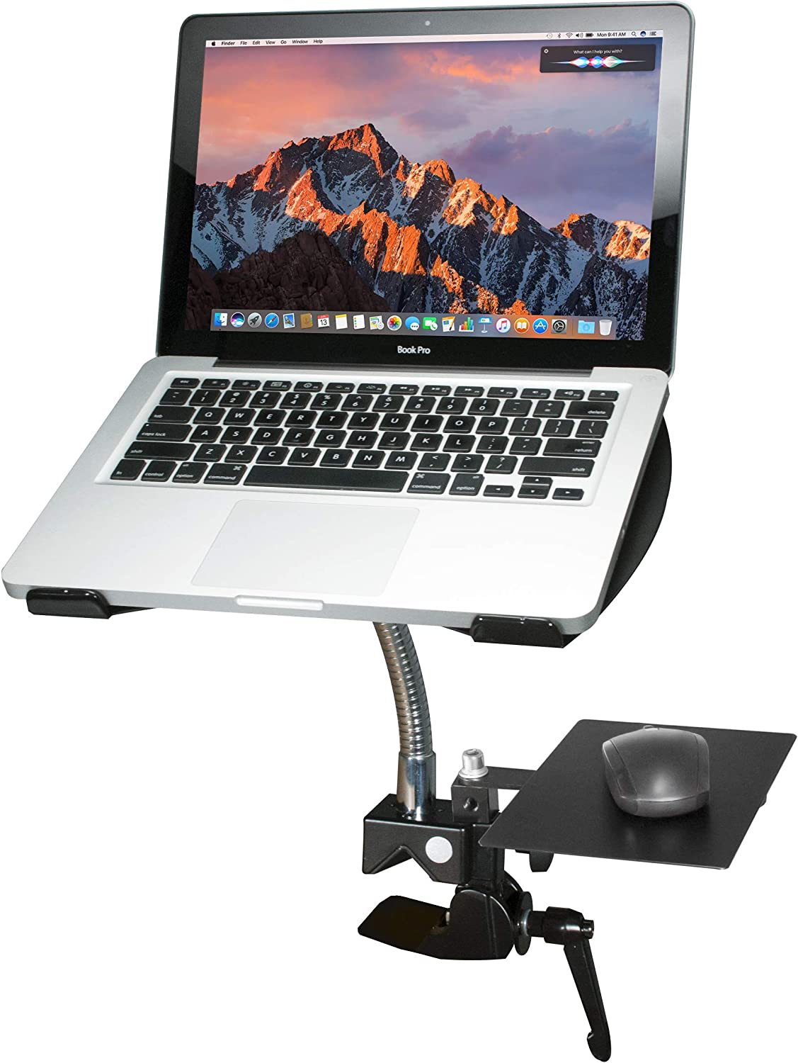CTein Digital PAD-HGL Heavy-Duty Gooseneck Clamp Stand for Laptops Black