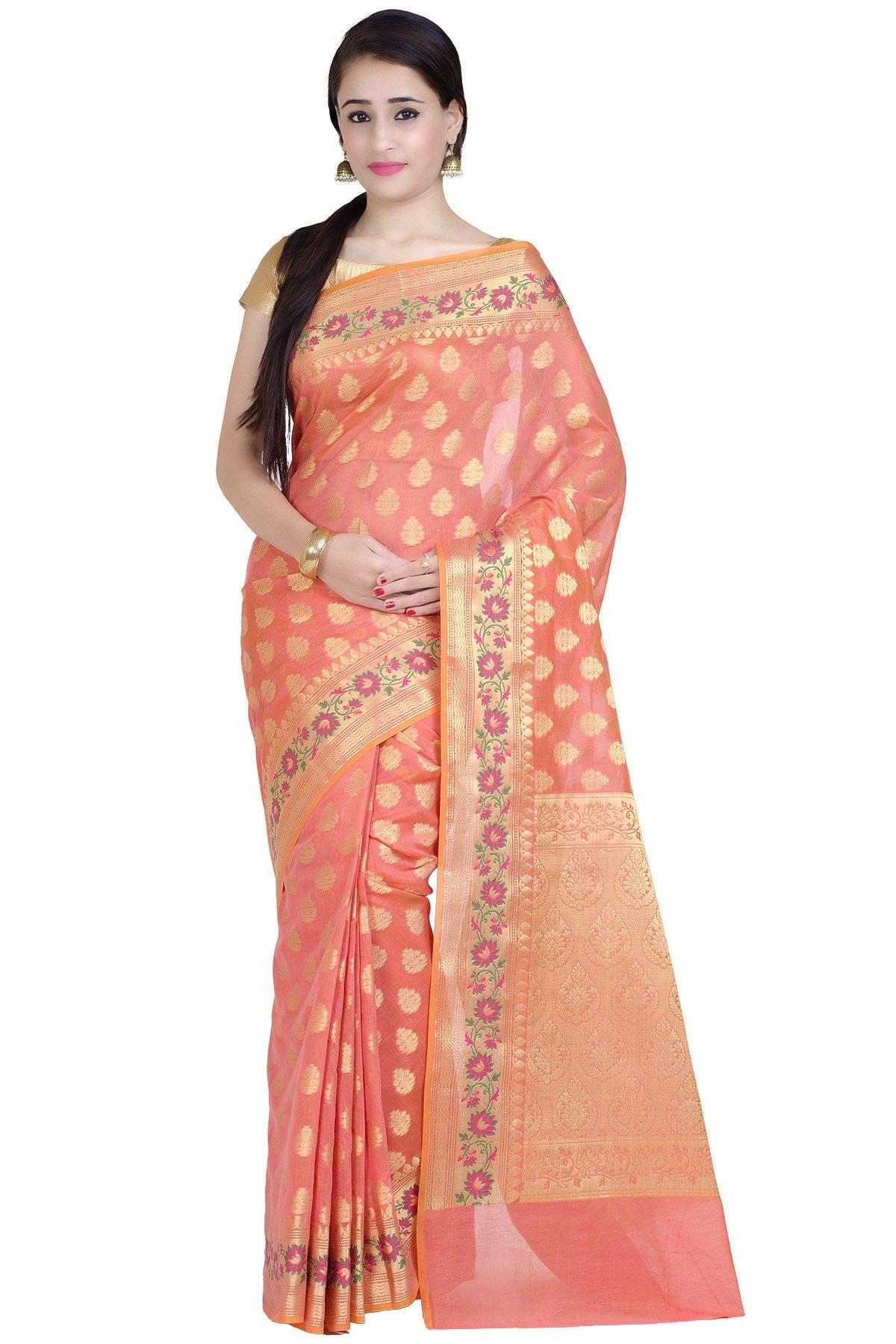 Chandrakala Women's Peach Mercerize Cotton Banarasi Saree(1271PEA)