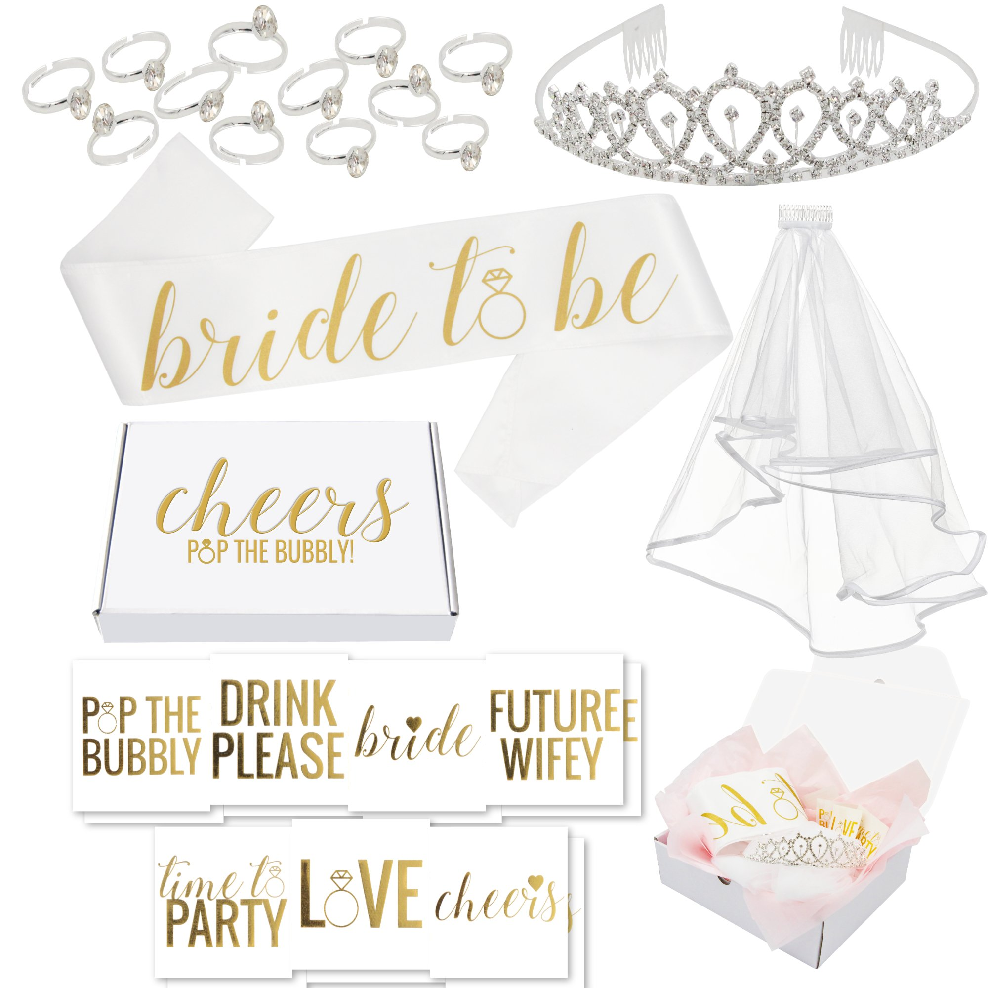 Bachelorette Party Decorations Kit//Bridal Shower Supplies with Cheers Gift Box: Tiara, Veil, Bride-To-Be Sash, Gold Bridal Tattoo Collection, Wearable Silver Engagement Rings! Cheers!