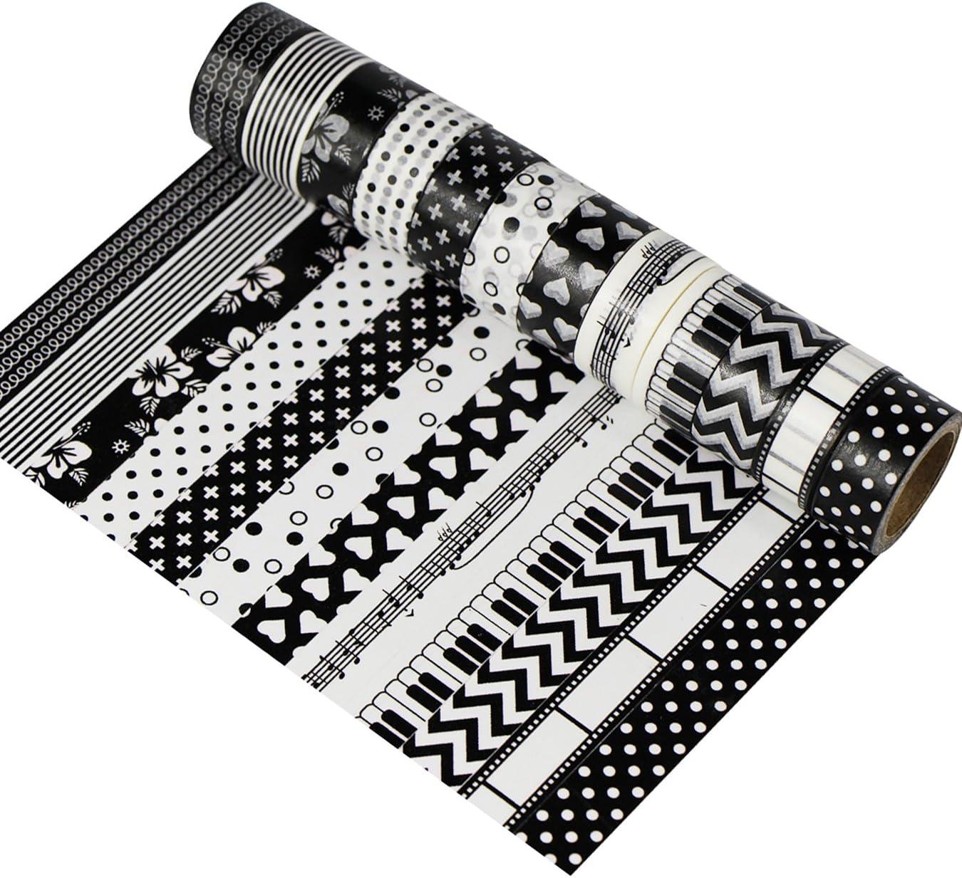 black UOOOM 12 Rotoli Decorativo Washi Tape Nastro Adesivo Scrapbooking DIY Craft regalo