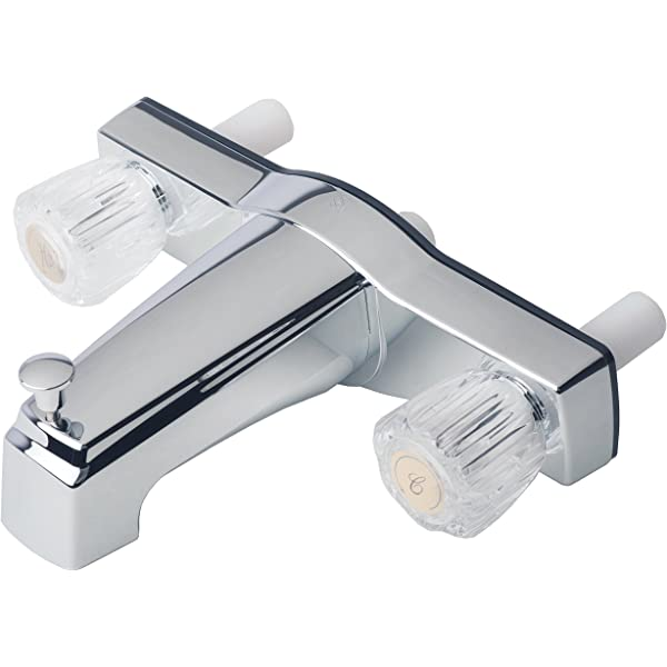 "Mobile Home Two Handle 8/"" Shower Faucet Valve with Shower Head Chrome Finish"