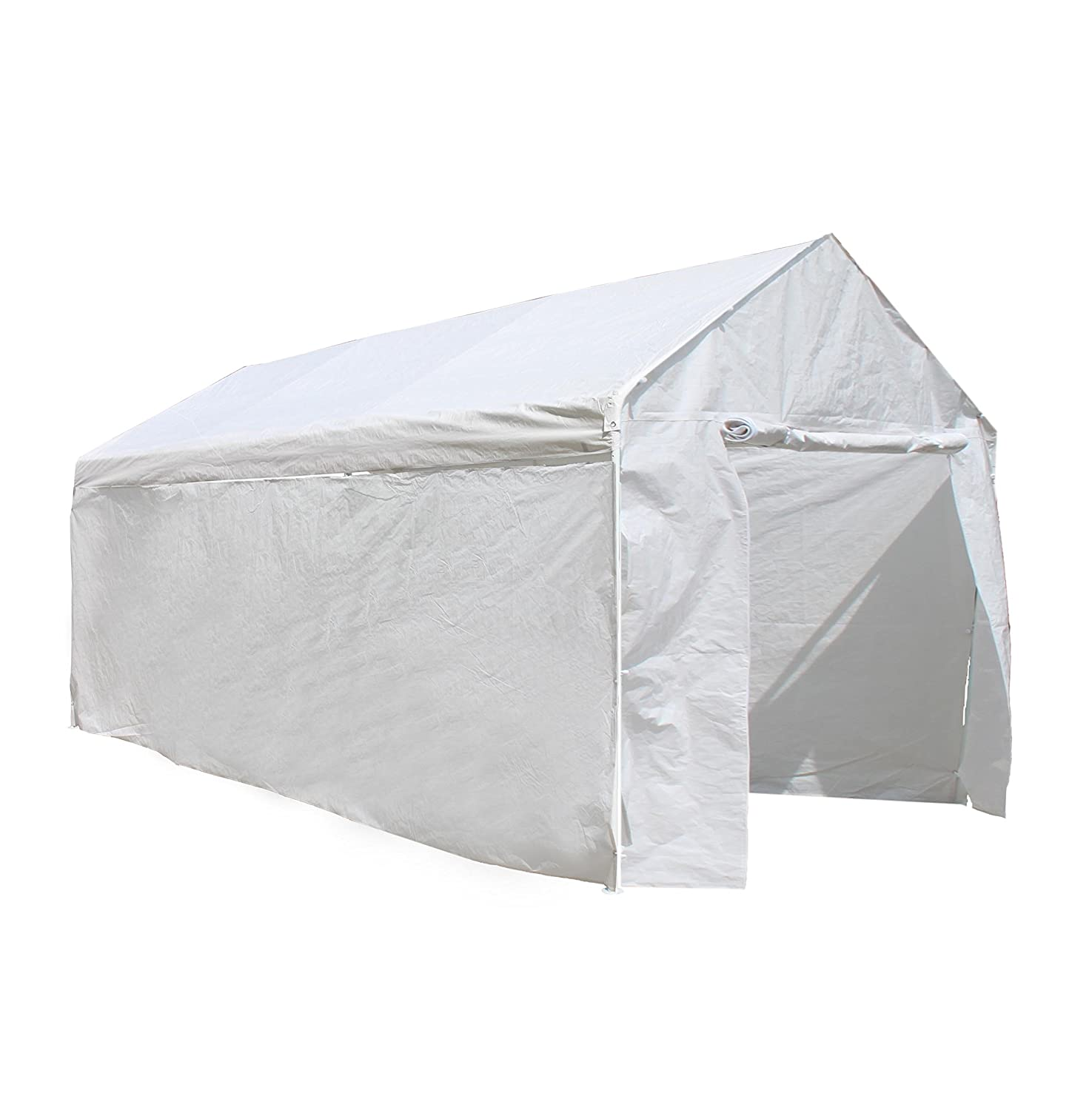 ALEKO CP1020NS 10 X 20 Heavy Duty Steel Frame Carport Kit, Party Tent with Polyethylene Removable Walls in White CP1020NSKIT