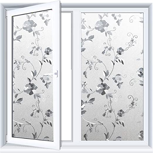 Floral Static Cling Stained Window Film Sticker Privacy Glass Door Sticker Decor