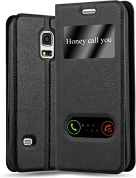 Cadorabo Funda Libro para Samsung Galaxy S5 / S5 Neo en Negro Cometa: Amazon.es: Electrónica
