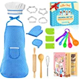 STRAWBETTER 20 Pcs Cooking Set, Kids Apron for Girls with Chef Hat, Toddler Apron, Apron for Kids